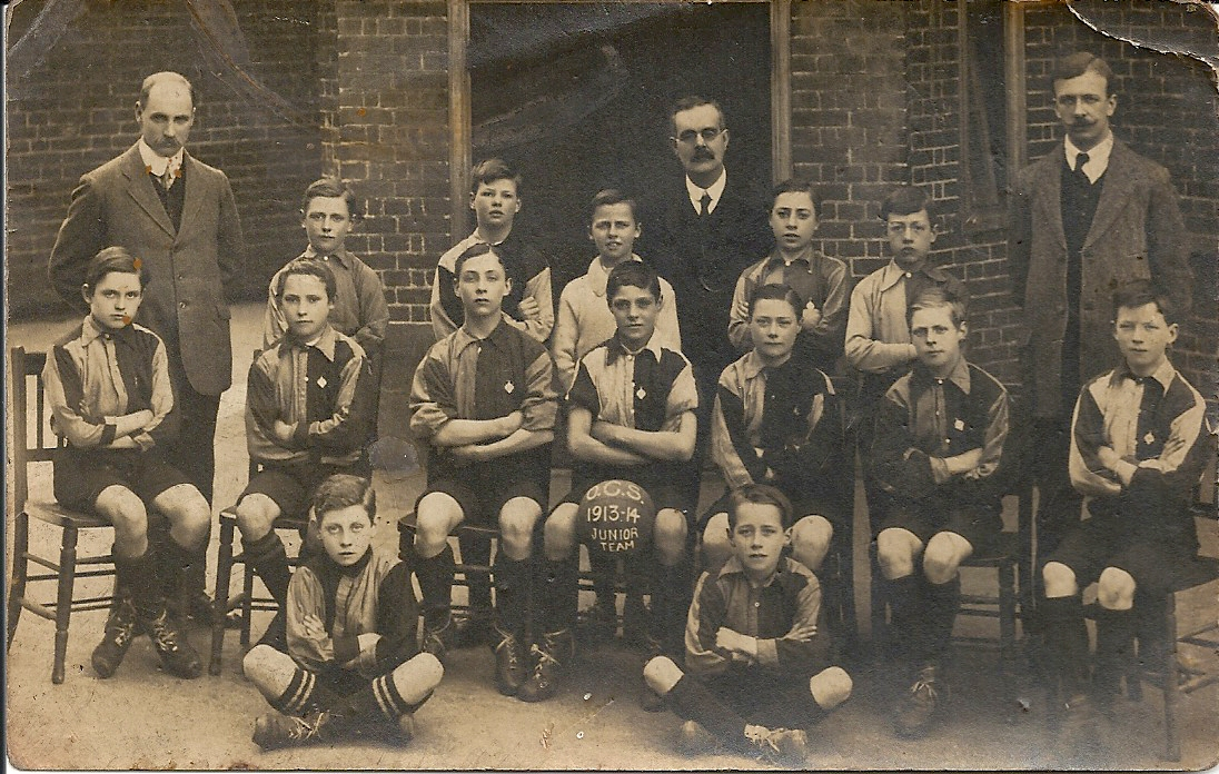 Ernest Brooks with OCS junior football team, 1913-14