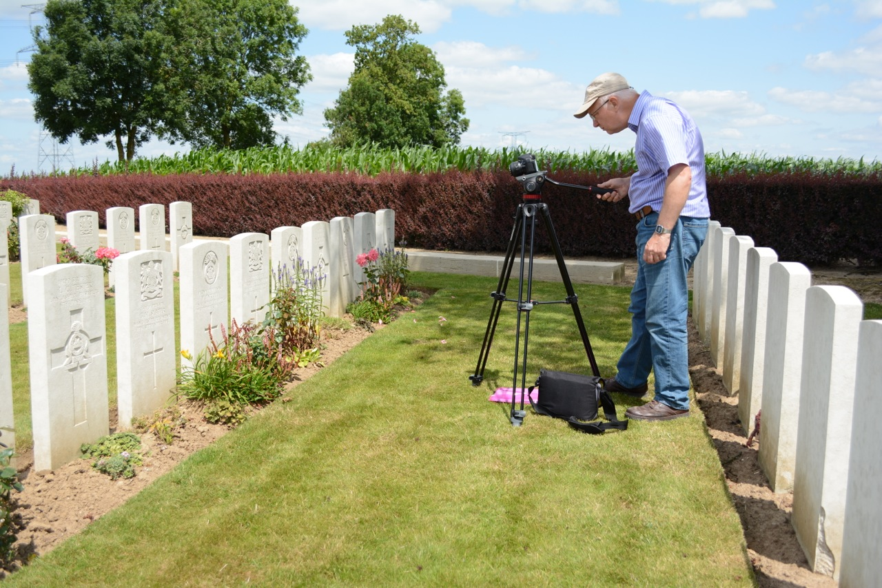 Simon Haynes filming at Varennes military cemetery