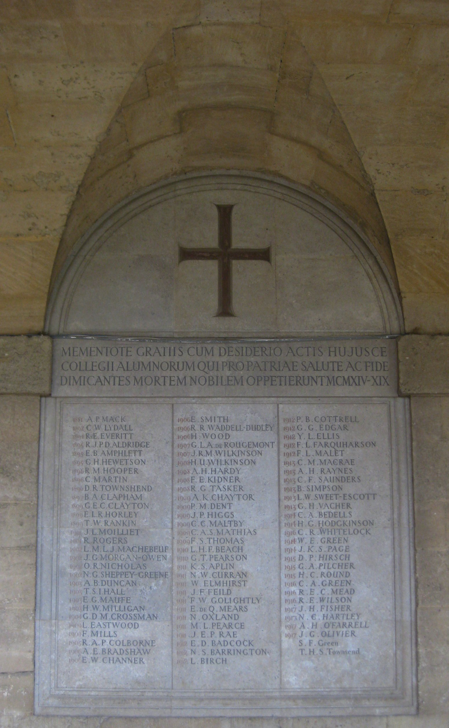 [Worcester College war memorial]