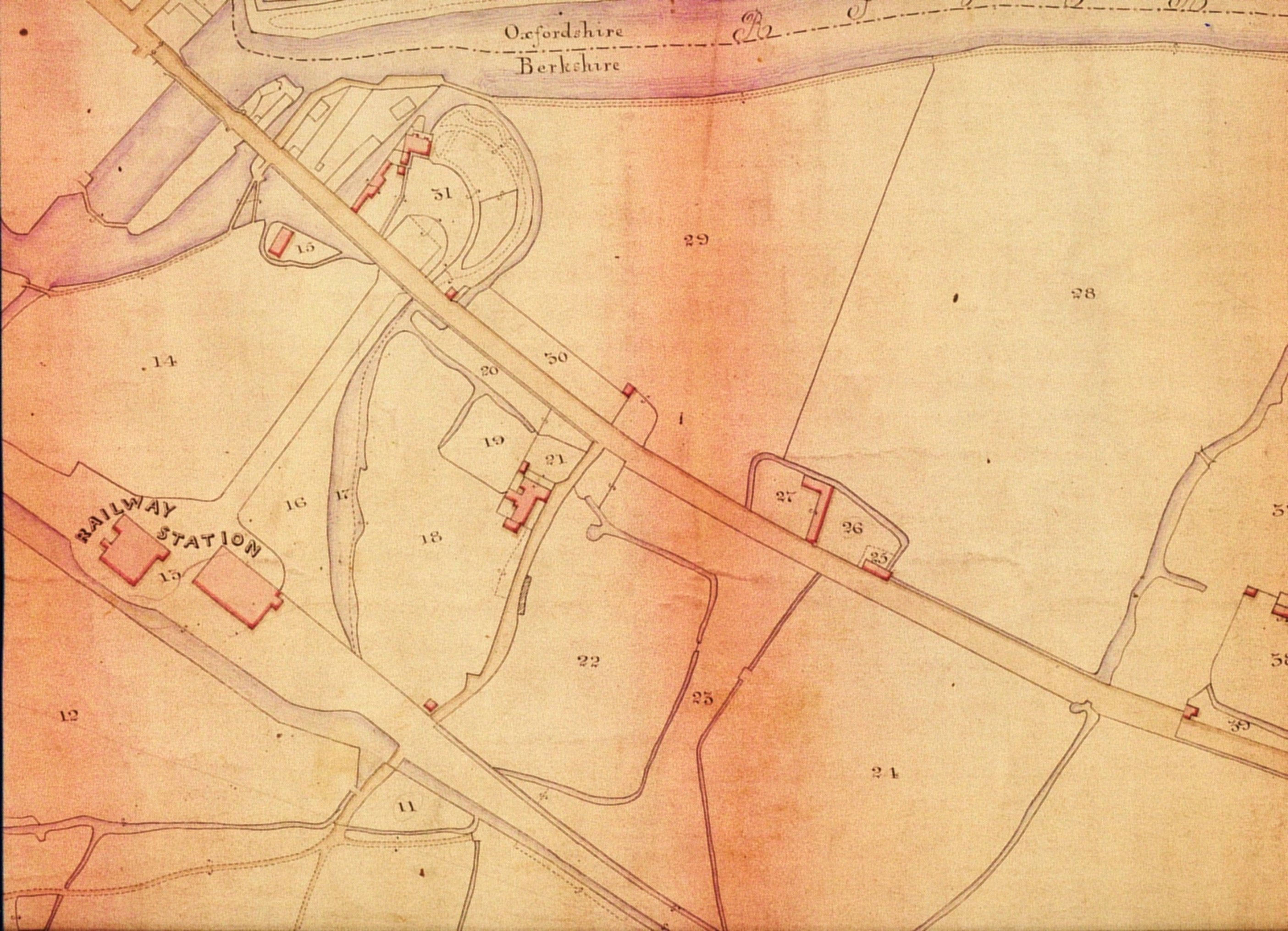 Grandpont Tithe Map 1847 TNA ref IR 30-27-3 landscape detail with railway station 2
